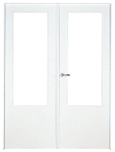 puerta de interior con cristal lyon lacada blanca doble