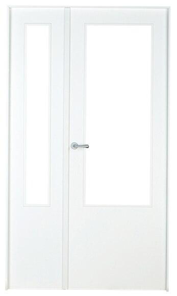 Puerta de interior sin cristal lyon lacada blanca doble for Puerta lacada blanca con cristal
