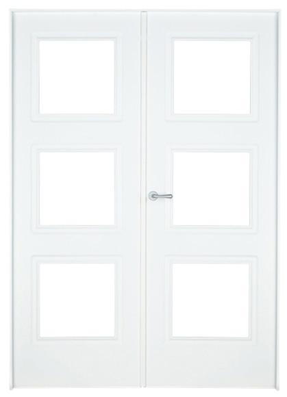 Puerta de interior sin cristal monaco lacada blanca doble for Puerta blanca cristal
