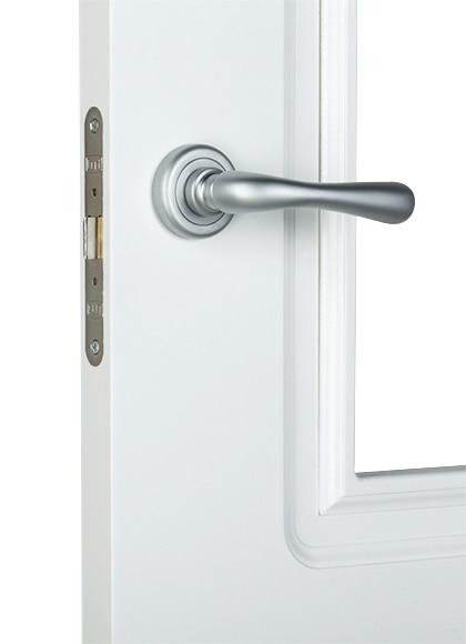 Puerta de interior sin cristal monaco lacada blanca doble for Puerta lacada blanca con cristal