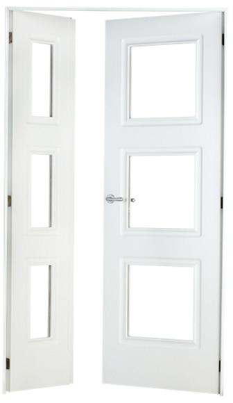 Puerta de interior con cristal monaco lacada blanca doble for Puerta blanca cristal