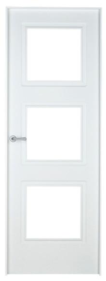 Puerta de interior con cristal monaco lacada blanca for Puerta lacada blanca con cristal