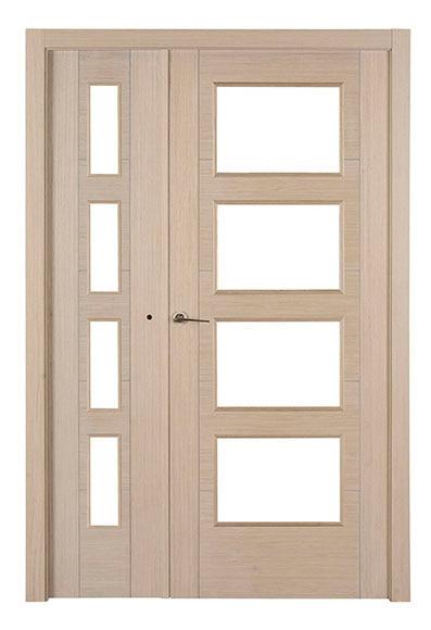 Puerta de interior sin cristal noruega roble gris doble for Puerta doble interior