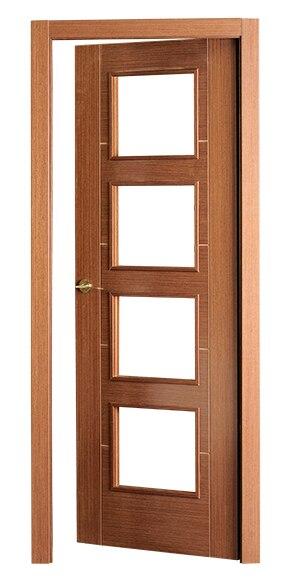 Puerta de interior sin cristal noruega wengue vidriera ref for Puertas wengue leroy merlin