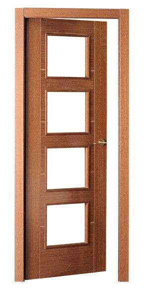 Puerta de interior con cristal noruega wengue vidriera ref for Puertas wengue leroy merlin
