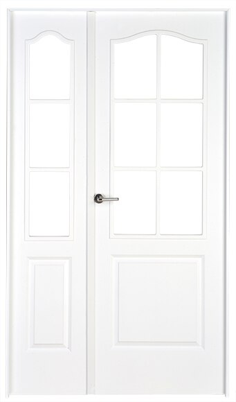 Puerta de interior con cristal praga lacada blanca doble for Puerta lacada blanca con cristal