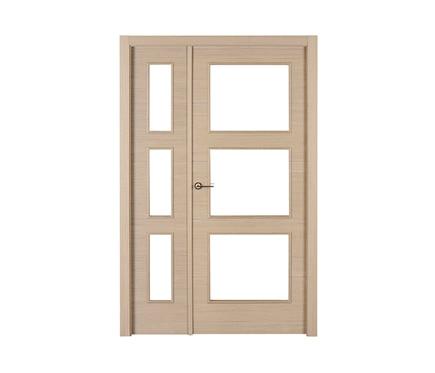 Puerta de interior con cristal viena roble gris doble ref for Puerta interior gris