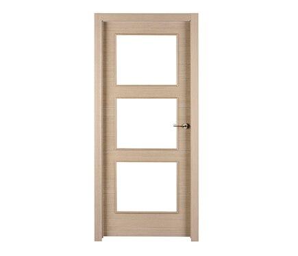 Puerta de interior con cristal viena roble gris vidriera for Puerta interior gris