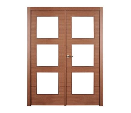Puerta de interior sin cristal viena wengue doble ref for Puertas wengue leroy merlin