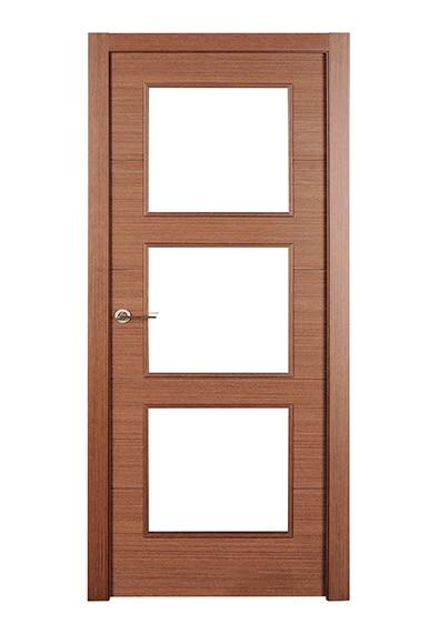 Puerta de interior sin cristal viena wengue vidriera ref for Puertas wengue leroy merlin