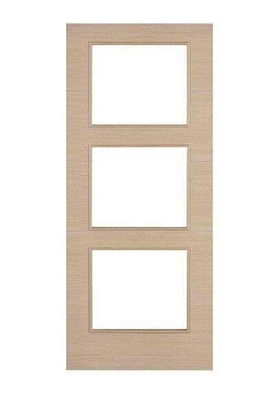 Puerta de interior con cristal viena roble gris corredera for Puerta interior gris