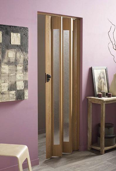 Puerta plegable artens ibiza roble cristal ref 14687421 - Puerta corredera plegable ...