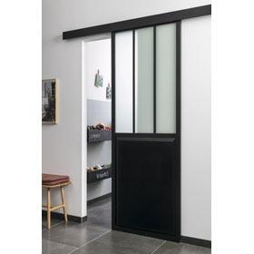 Gu a para puerta corredera de madera chloe corredera negra - Cristales translucidos para puertas ...