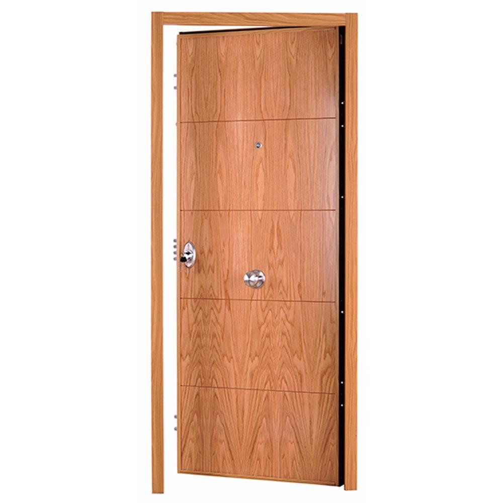 Puerta de entrada acorazada fresada roble ref 16145934 - Puerta acorazada leroy merlin ...