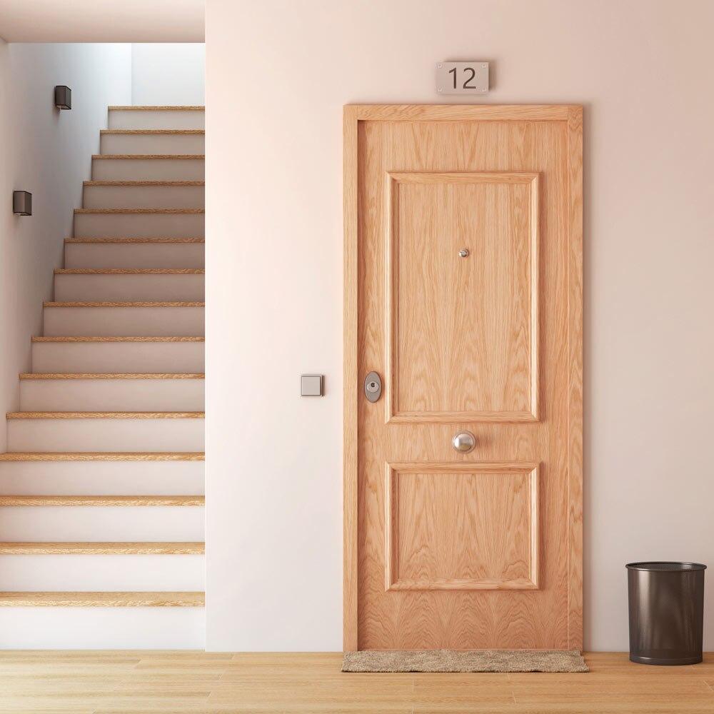 Puerta de entrada acorazada recta roble ref 16571303 - Puertas rusticas leroy merlin ...