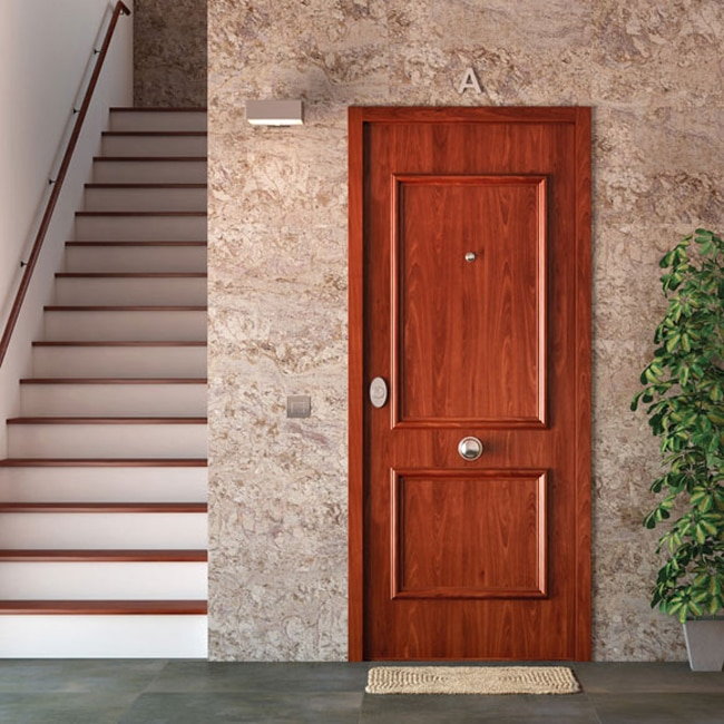 Puerta de entrada acorazada recta sapelly ref 16571282 - Puertas exteriores de pvc ...
