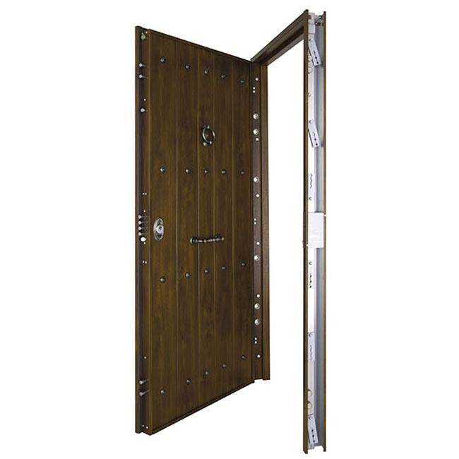 Puerta de entrada acorazada acorazada r stico nogal ref - Leroy merlin puertas exteriores ...