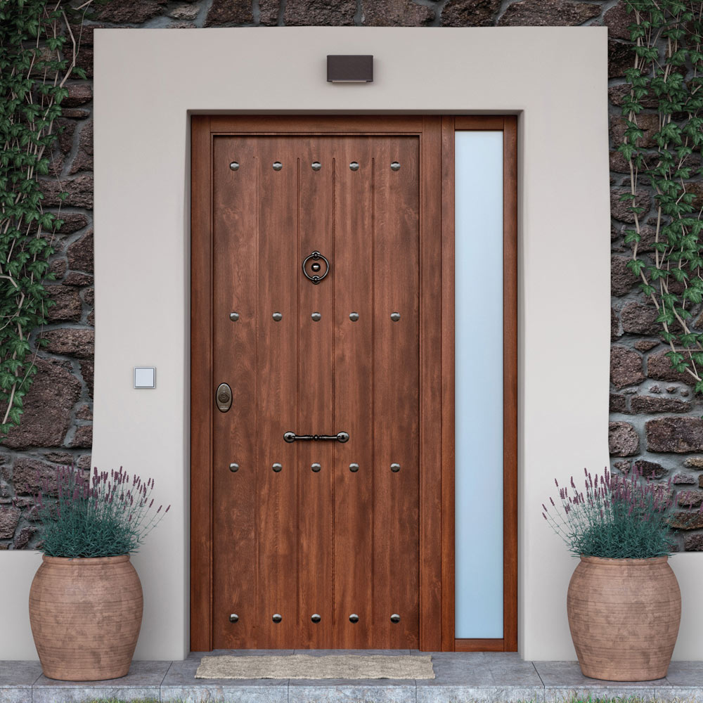 Puerta de entrada acorazada r stico nogal ref 19567856 for Puertas de calle aluminio precios