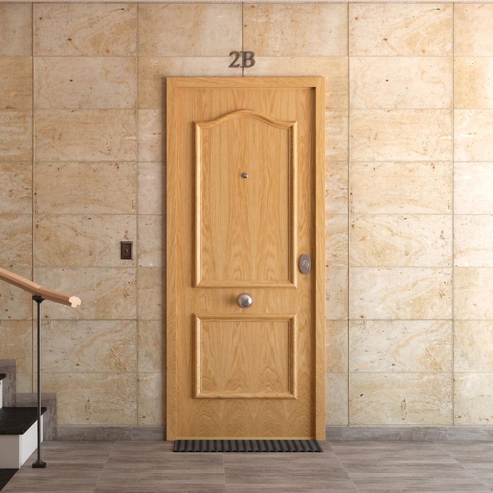 Puerta de entrada acorazada semiprovenzal roble ref - Puertas leroy merlin madera ...