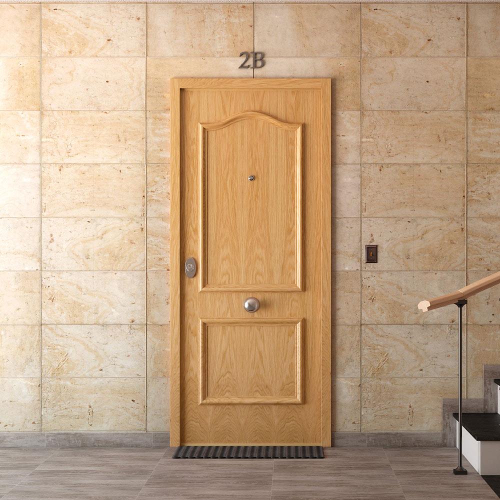 Puerta de entrada acorazada semiprovenzal roble ref - Puerta acorazada leroy merlin ...