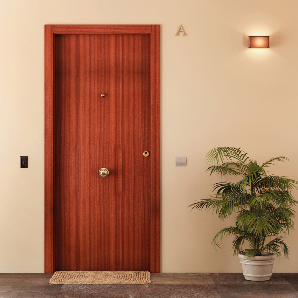Puerta de entrada blindada lisa sapelly blanca ref - Topes para puertas leroy merlin ...