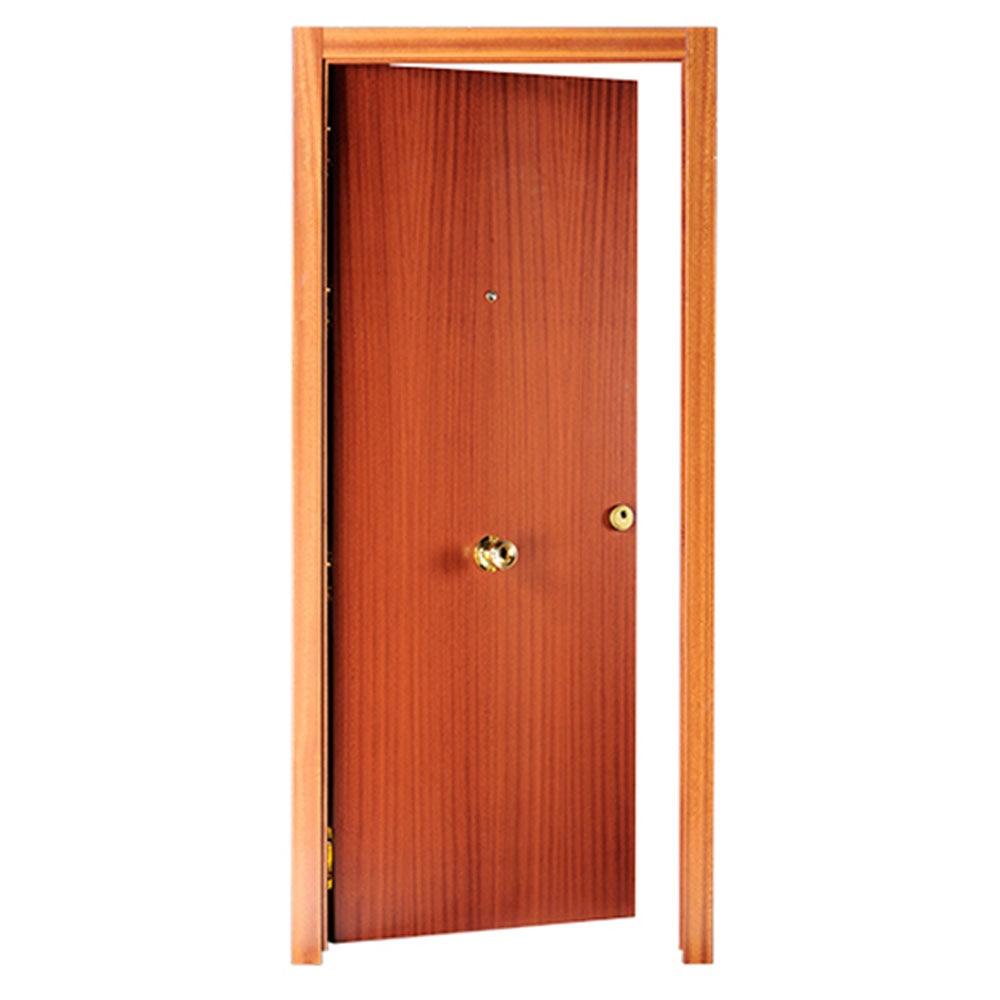 Puerta de entrada blindada lisa sapelly blanca ref for Puerta de acordeon castorama