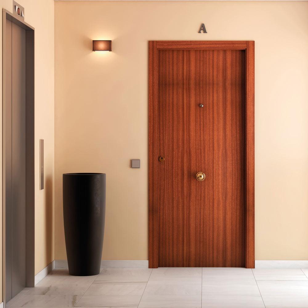 Puerta de entrada blindada lisa sapelly ref 14059360 for Puertas para interior baratas