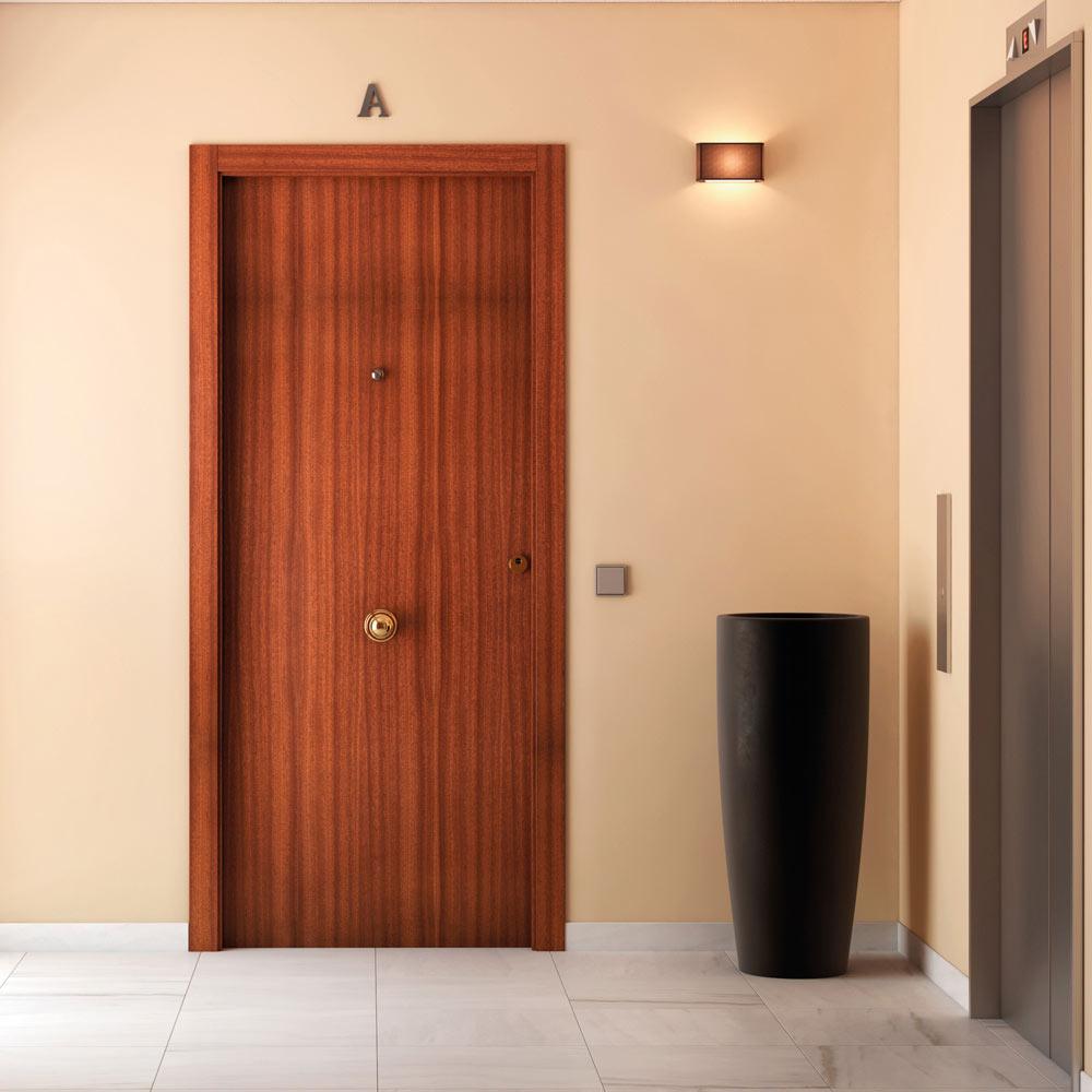 Puerta de entrada blindada lisa sapelly ref 14059374 for Puertas entrada madera maciza precios