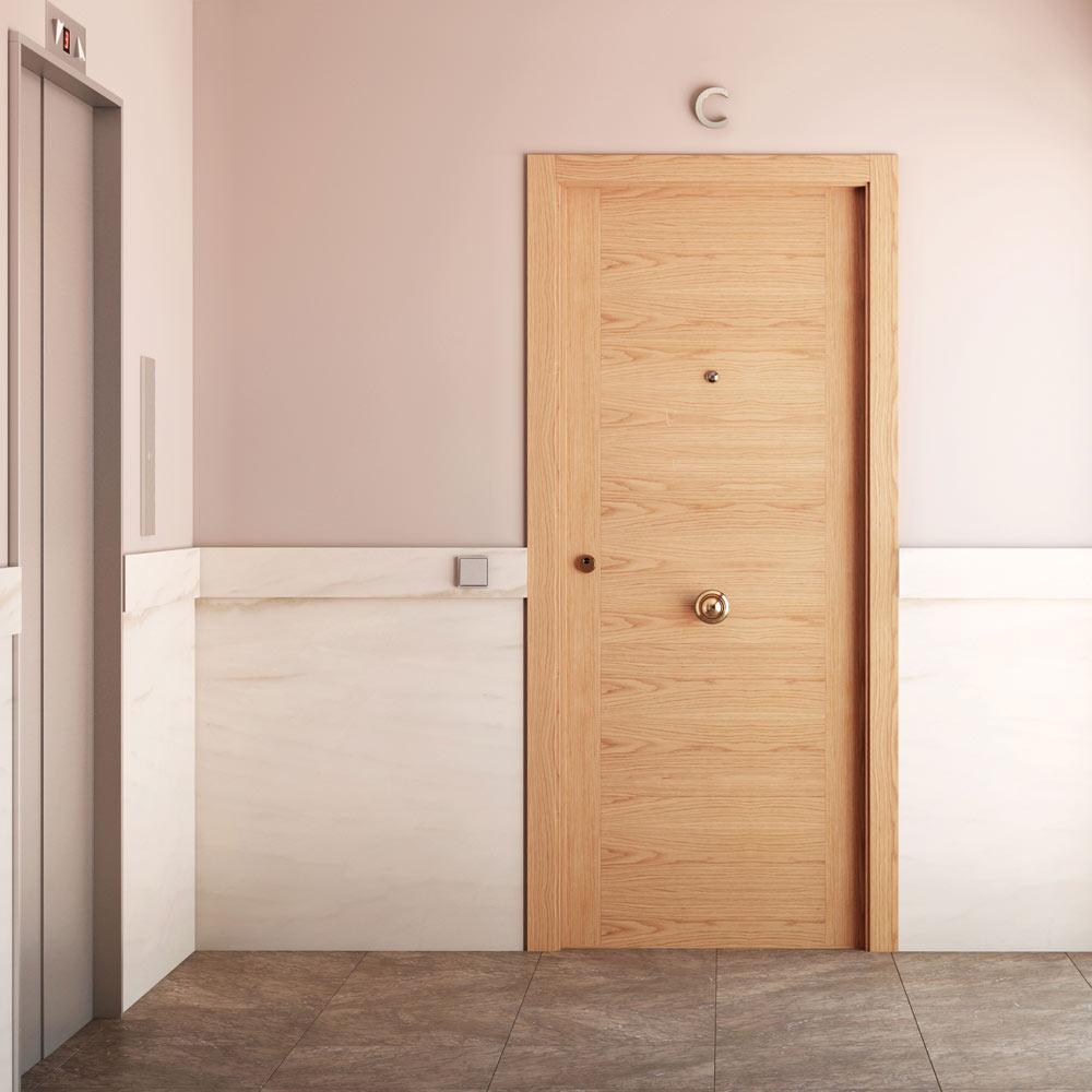 Puerta de entrada blindada noruega roble ref 16777236 for Puerta blindada casa