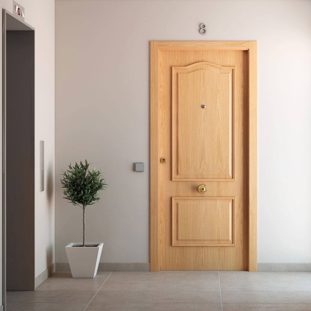 Puerta de entrada blindada provenzal roble ref 15003660 for Tapajuntas puertas leroy merlin