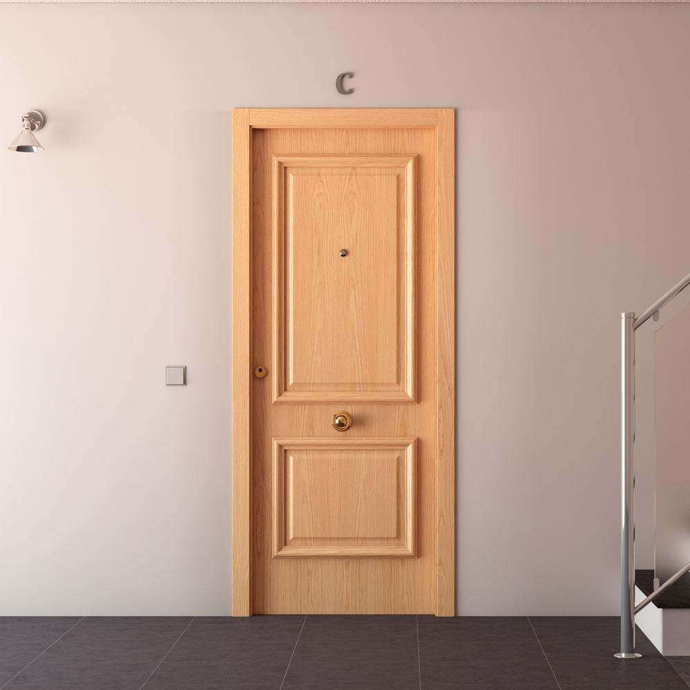 Puerta de entrada blindada recta roble ref 15003681 - Puertas de roble ...