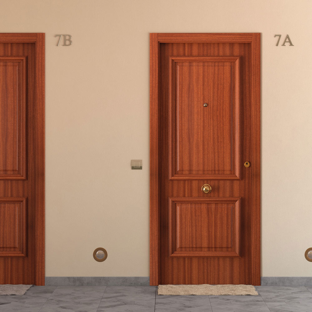 Puerta de entrada blindada recta sapelly ref 15003716 - Puertas exterior leroy merlin ...
