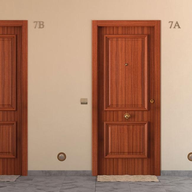 Puerta de entrada blindada recta sapelly ref 15003716 leroy merlin - Puertas de madera leroy merlin ...