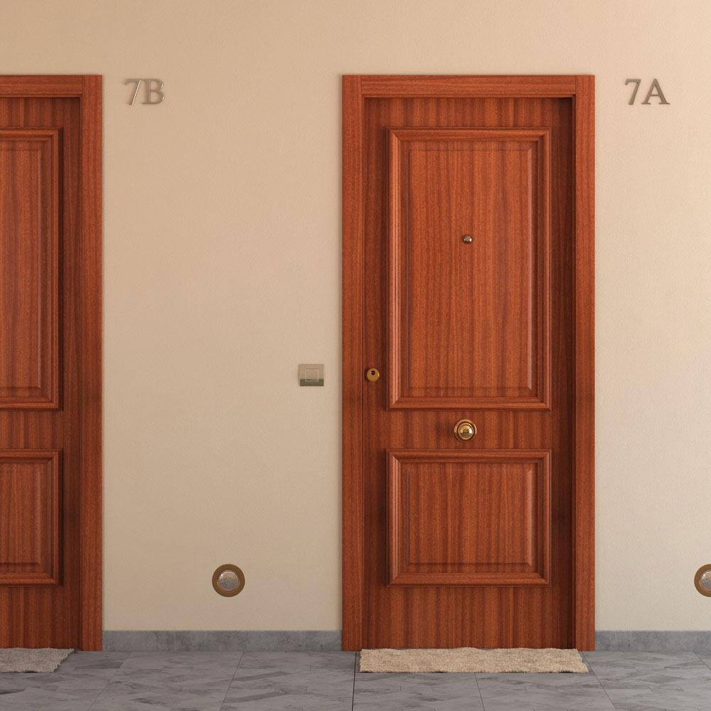 Puerta de entrada blindada recta sapelly ref 15003723 for Puertas leroy merlin