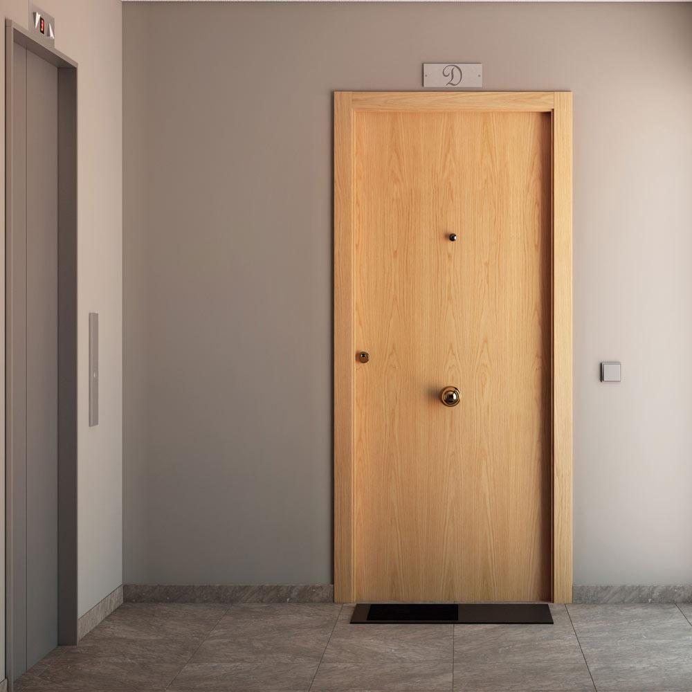 Puerta de entrada blindada blindada roble ref 14059381 for Puertas leroy merlin