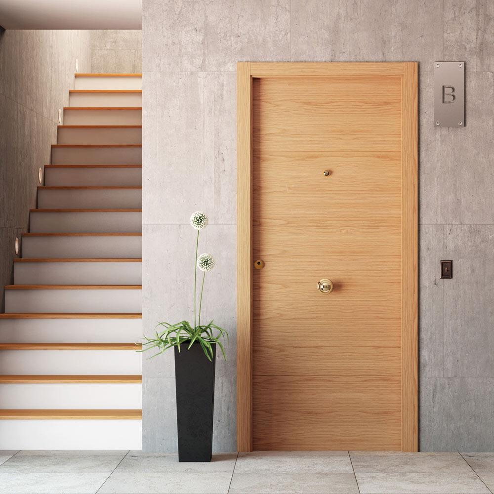 Puerta de entrada blindada viena roble ref 16777243 - Puertas para chimeneas leroy merlin ...