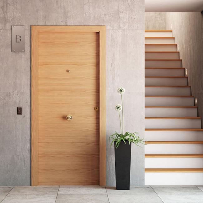 Puerta de entrada blindada viena roble ref 16777264 - Leroy merlin puertas entrada ...