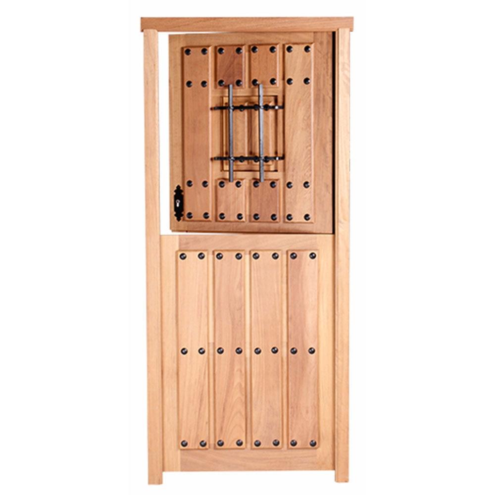 Puerta de entrada maciza iroko partida reja ref 14780164 for Puertas entrada madera maciza precios
