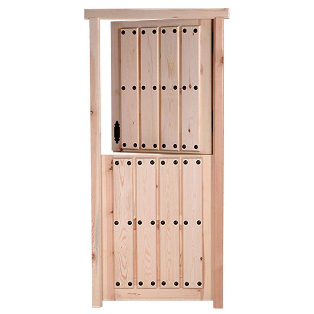 Puerta de entrada maciza pino cruda partida ref 14780283 for Puertas rusticas exterior leroy merlin