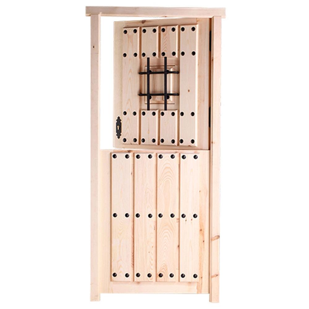 Puerta de entrada maciza pino partida reja ref 14780241 for Puertas rusticas exterior leroy merlin