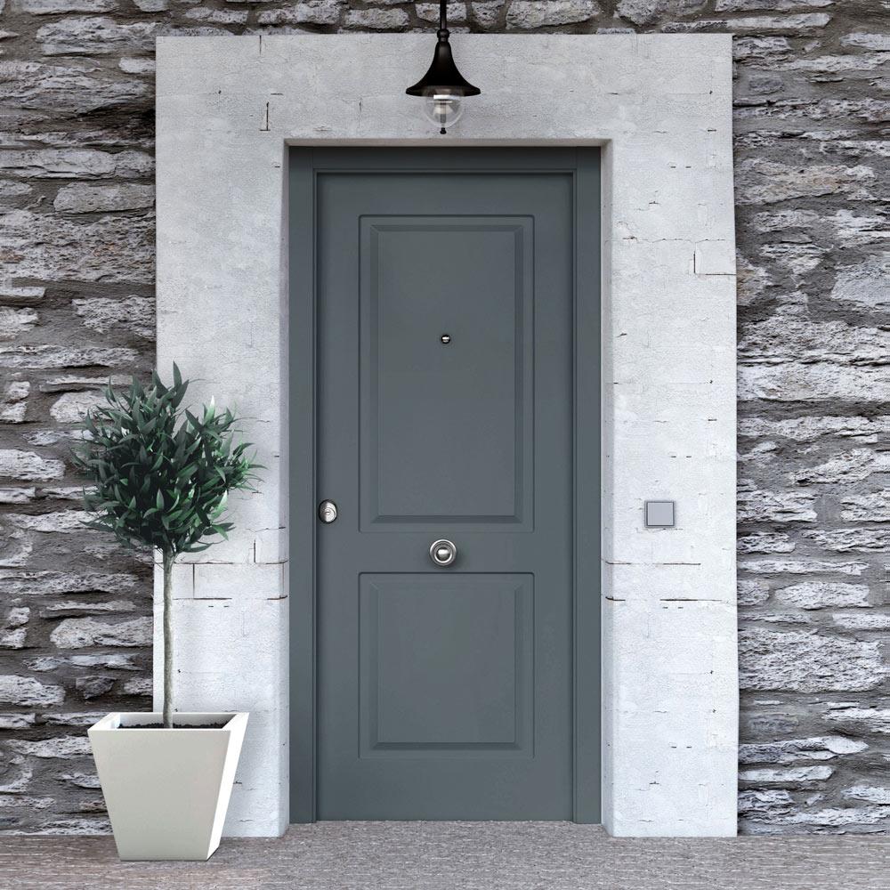 Puerta de entrada met lica cl sica gris ref 19129880 for Puertas para casa exterior