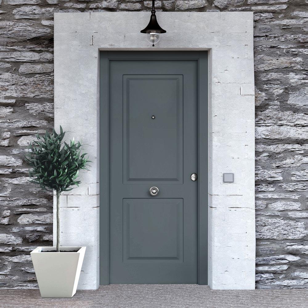 Puerta de entrada met lica cl sica gris ref 19129894 for Tapajuntas puertas leroy merlin