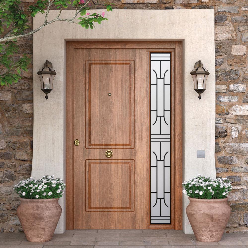 Puerta de entrada met lica met lica cl sica roble viejo ref 16146151 leroy merlin - Medidas puerta entrada ...