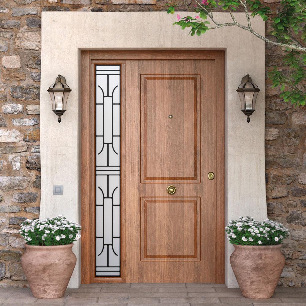 Puerta de entrada met lica met lica cl sica roble viejo - Mosquiteras para puertas leroy merlin ...