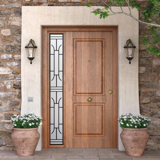 Puerta de entrada met lica met lica cl sica roble viejo ref 16146263 leroy merlin - Puertas de aluminio leroy merlin ...