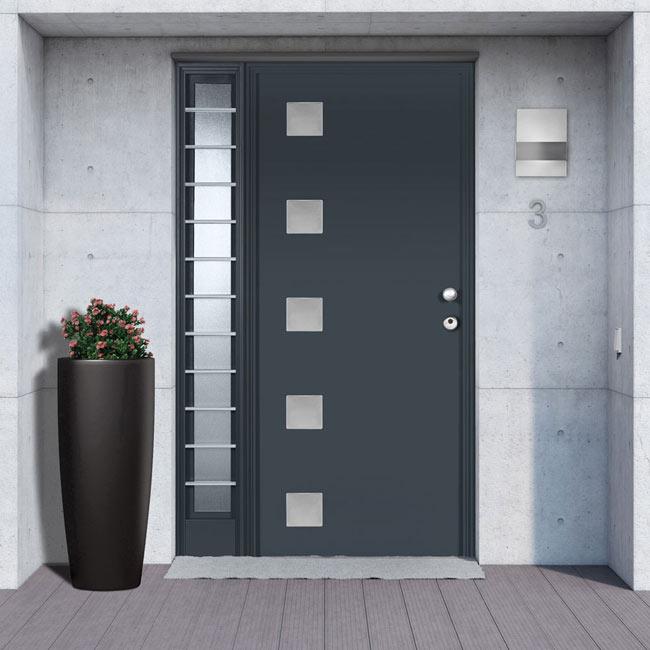 Puerta de entrada met lica cuadros gris ref 19370050 - Puerta exterior metalica ...