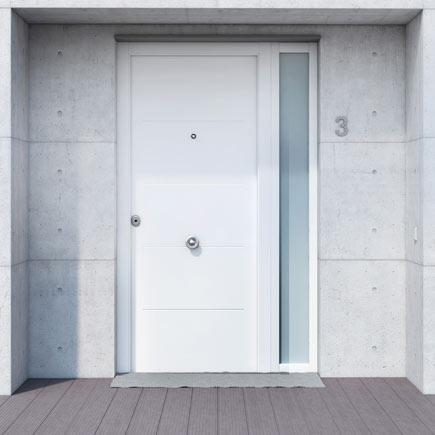 Puerta de entrada met lica met lica fresada blanca ref - Puertas blancas exterior ...
