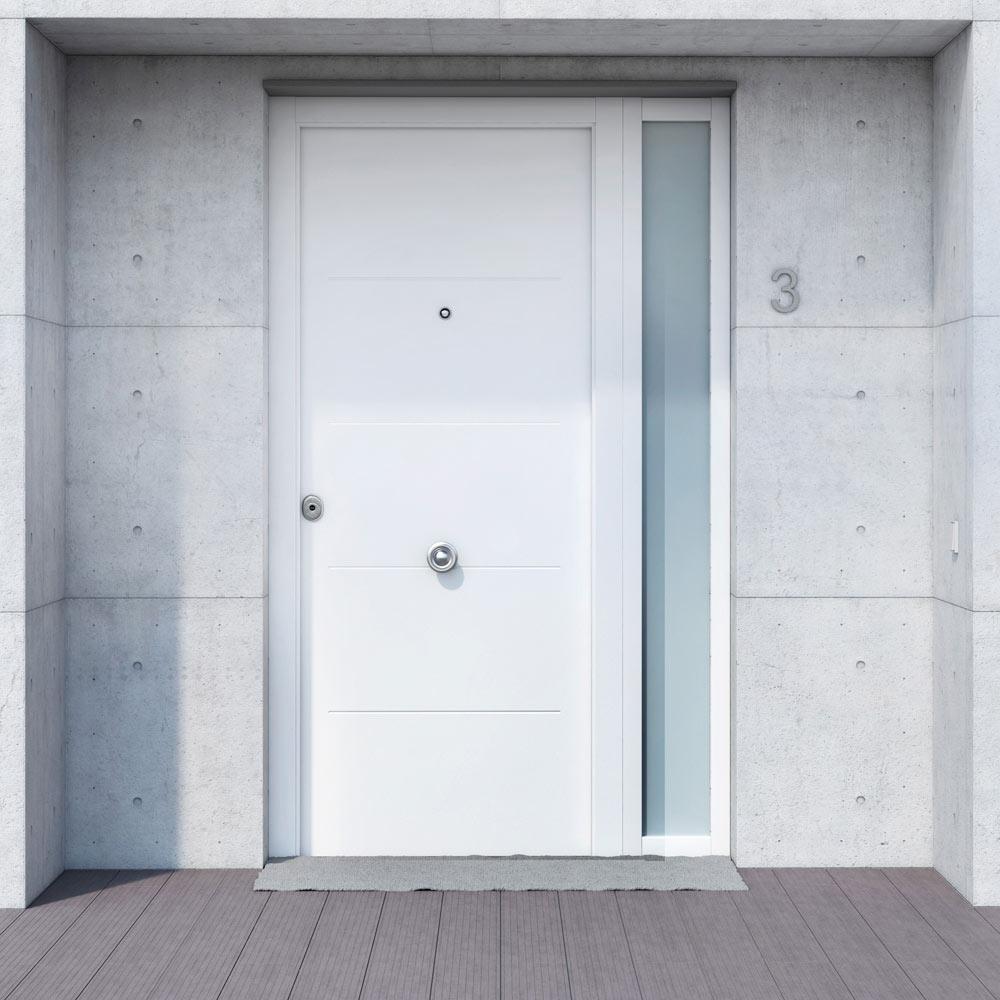 Puerta de entrada met lica met lica fresada blanca ref for Puertas de entrada modernas precios
