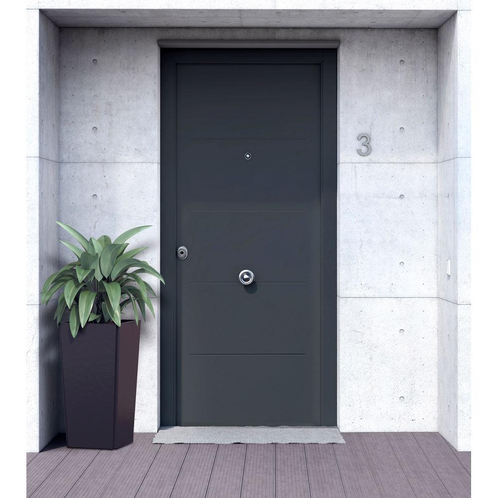 Puerta de entrada met lica met lica fresada gris ref for Puertas de paso metalicas