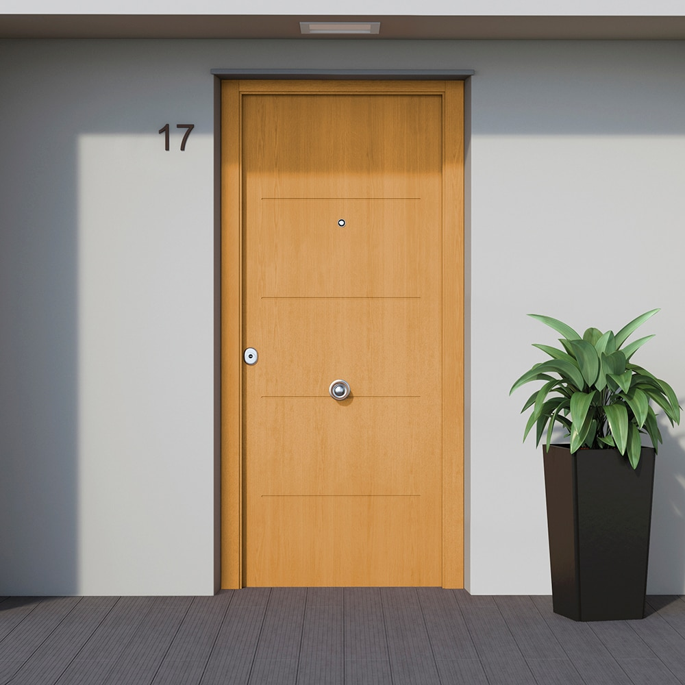 Puerta de entrada met lica met lica fresada roble ref - Medidas puerta entrada ...